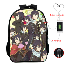 Noragami multi-function USB charging backpack laptop for youth school 16 inch bag