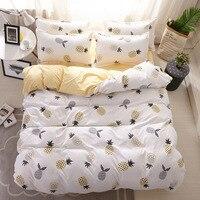 3/4pcs Set biancheria da letto biancheria da letto singola bianco giallo ananas Design confortevole Queen Twin tessili per la casa stile carino Oceania
