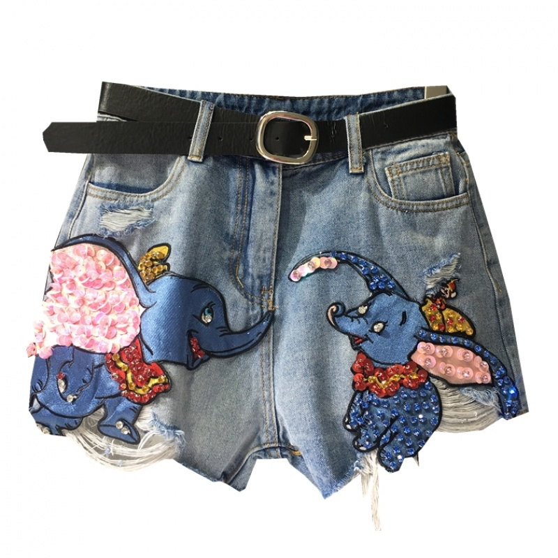 Plus Size 5XL!elephant Embroidery Denim Shorts WOMEN Summer Hole Bf Loose Wide Leg Jeans Shorts