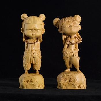 Morden China Creatives Carving Nataku Art Sculpture Nezha Figurine Boxwood Crafts Home Decoration Accessories Collecting R3773