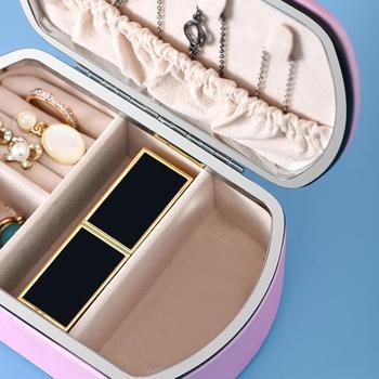 PU Girl Jewelry Box Organizer Travel Jewerly Storage Box Double Layer Earing Necklace Ring Box