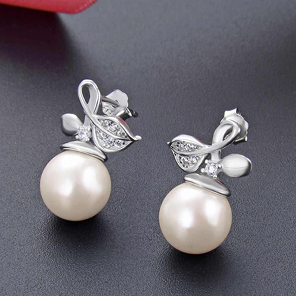 Conjunto de joyería para mujer de Plata de Ley 925 con perlas de agua dulce conjunto de joyería fina 5A CZ conjunto de pendientes de anillo abierto de compromiso