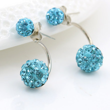 Silver-plated crystal ball ball studs delicate ear jewelry hypoallergenic shampala ball fashion earrings pair of delicate faux crystal ball hook earrings for women