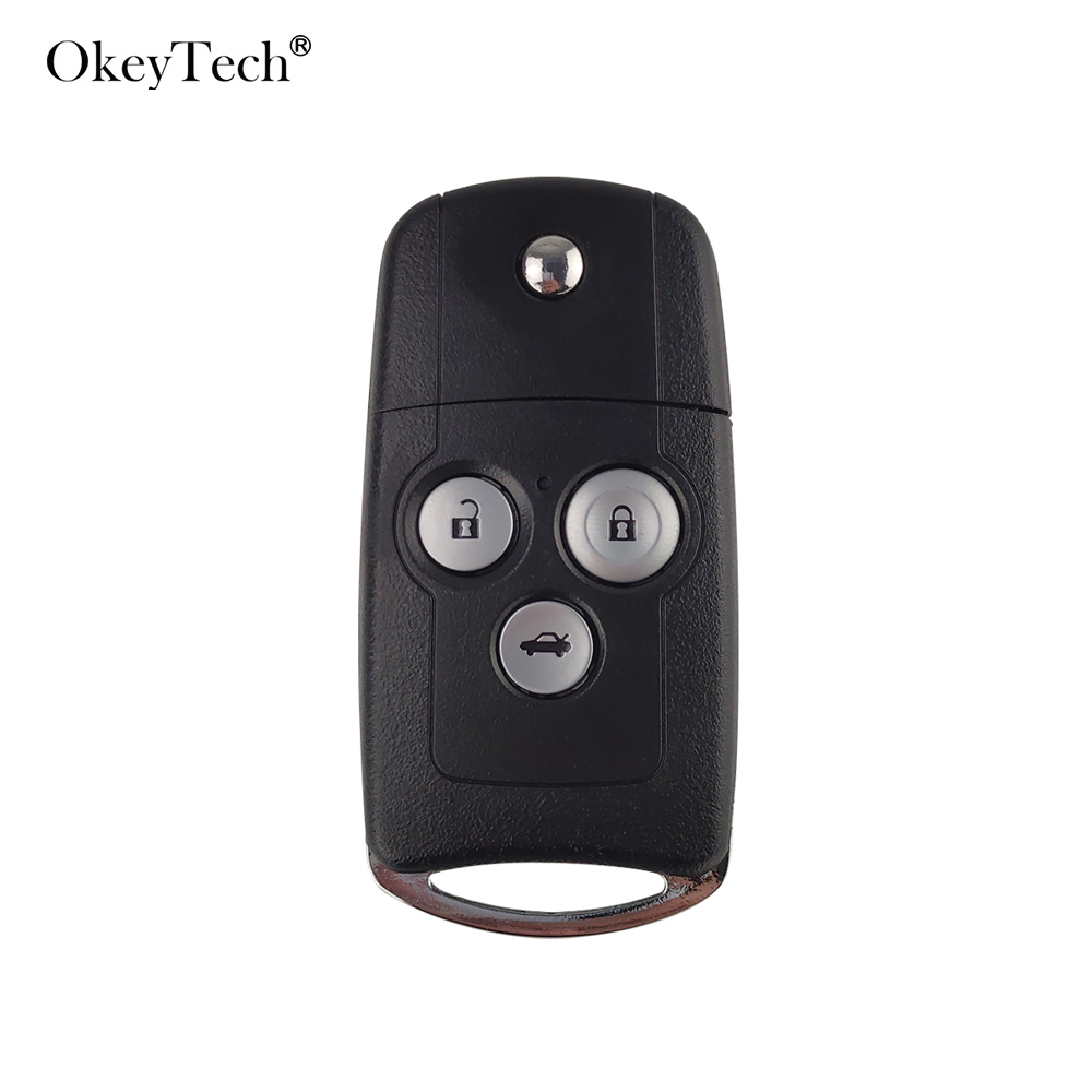 Okeytech 3 Buttons Car <font><b>Remote</b></font> Flip Key Fob Case Shell Cover Upgrade For <font><b>Honda</b></font> for Civic for Accord Jazz <font><b>CRV</b></font> image