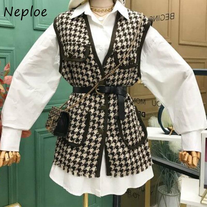 Neploe-traje sencillo de dos piezas para otoño, blusa de Color sólido para mujer, con fajas elegantes, cintura delgada, con paneles de tela escocesa