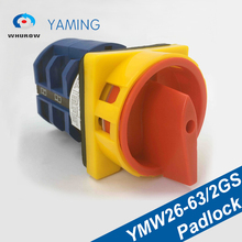 купить Cam Switch With Padlock YMW26-63/2GS 63A 2 Poles 2 Position ON-OFF Universal Changeover Rotary Safe Switches LW26 по цене 1517.3 рублей