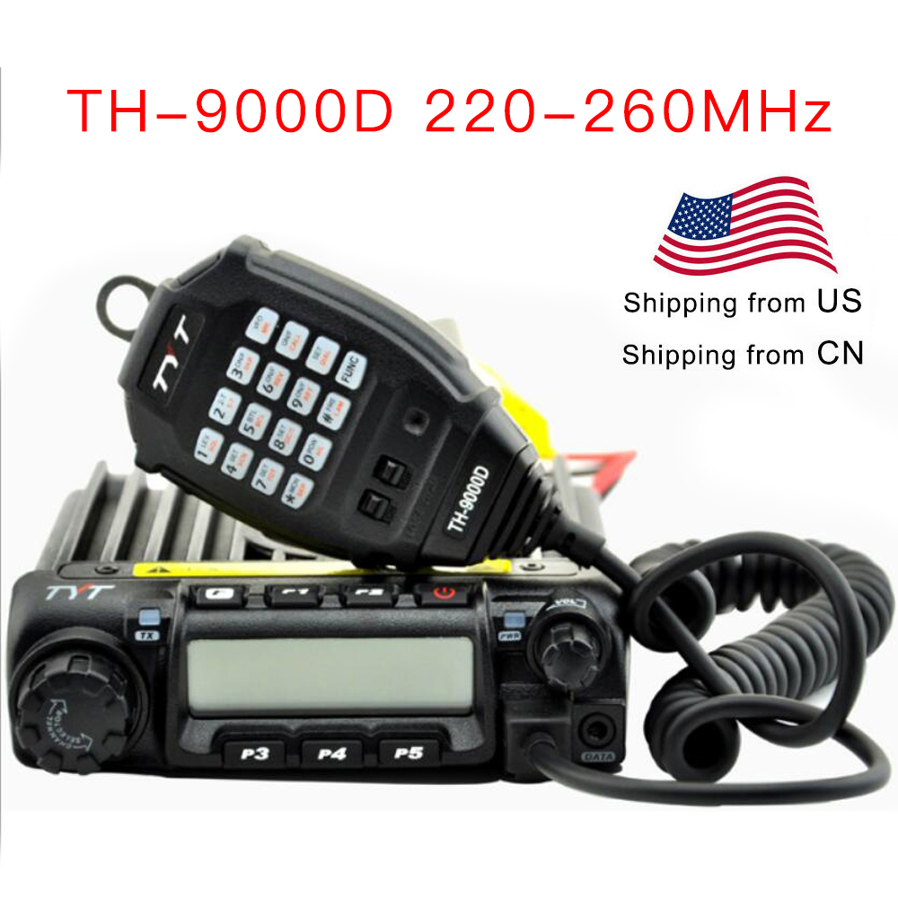 TYT Vehicle Two Way Radio TH-9000D 220-260MHz 60Watts Output Power Car Transceiver TH9000D Walkie Talkie