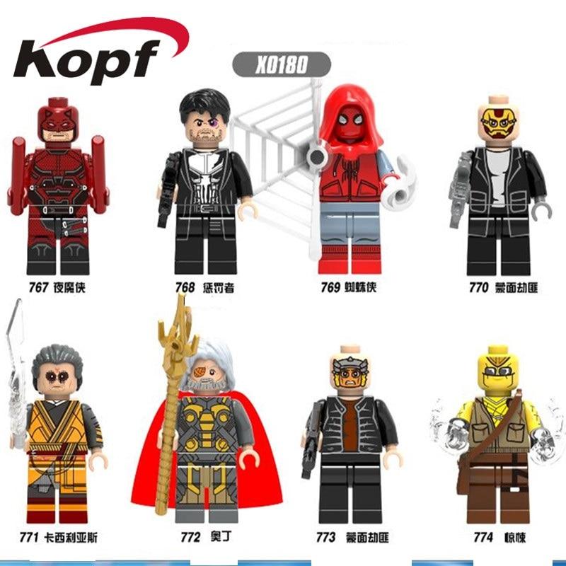Single Sale Super Heroes Spider-Man Punisher Masked Robber Odin Building Blocks Bricks Action Toys For Children X0180