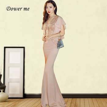 Evening Dresses Mermaid GDX263 Elegant Appliques V-neck Evening Dress For Women Long Mermaid Crystal Cap Sleeve Robe De Soiree