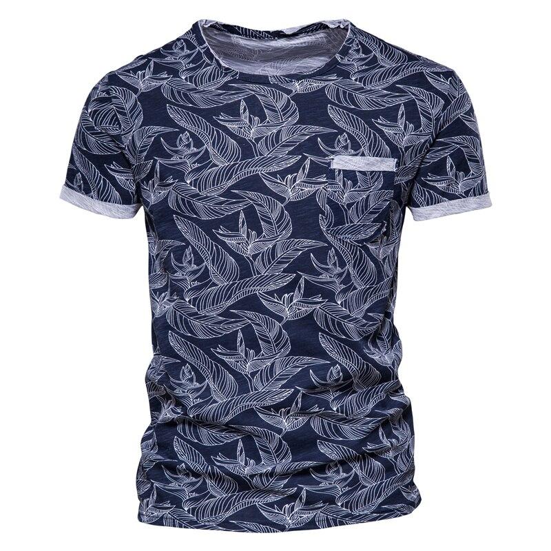 Мужская футболка с принтом листьев AIOPESON, Повседневная футболка с карманами из 100% хлопка, Новинка лета 2021, Мужская футболка в гавайском стиле