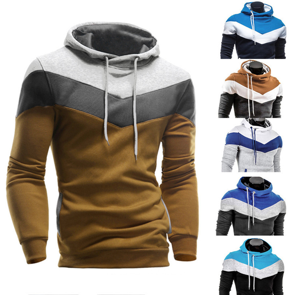 Winter Fashion Men Hoodies Retro Long Sleeve Hoodie Hooded Pullover Sweatshirt Tops Jacket Coat Outwear Streetwear