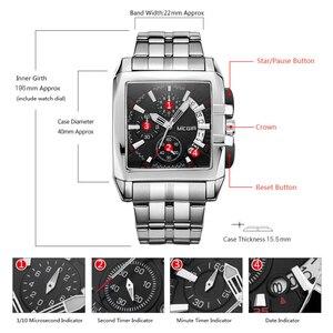 Image 5 - MEGIR erkekler büyük arama moda iş Analog kuvars kol saati paslanmaz çelik kayış spor saatler saat erkek Relogio Masculino