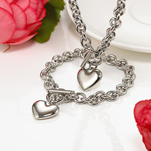 Love Heart Necklace and Bracelet Jewelry Sets for Women Gift Stainless Steel Engagement Wedding Party Chain Set Jewelry Fashion 6