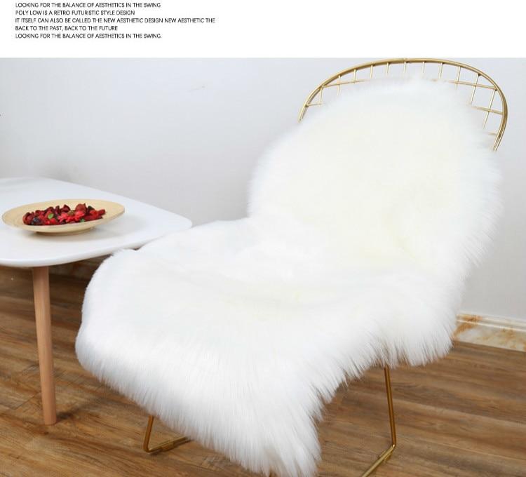 Manta De Pelo Para Cadeira Chair Hair Blanket  Imitate Wool Carpet Cushion Sofa Cushion White Long Blanket Chair Cushion Rug