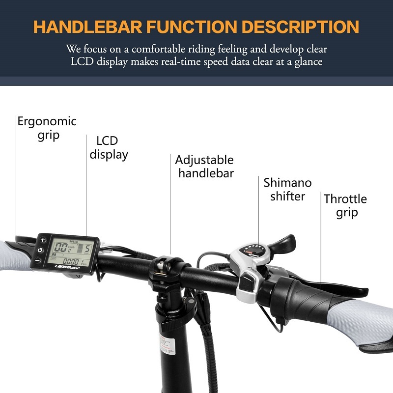full LANKELEISI Foldable electric bike G650 suspension 7 Speeds 48V 400W Motor 13AH Battery 10