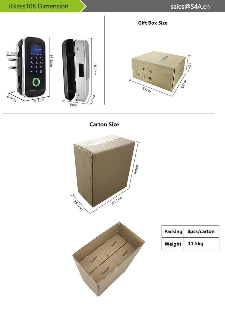 iGlass108 Fingerprint Glass Door Lock-2