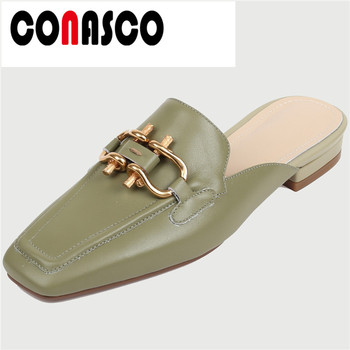 CONASCO 2020  Woman Pumps Women  Sandals  Cow Leather Summer Half  Slippers Metal Decoration Square Toe Square Heels Shoes Woman