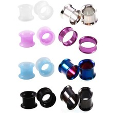 2PAIR Steel Ear Flesh Tunnel Plugs Earring Gauges Without Thread Double Flared Hollow Screw Ear Expander Gauge Body Jewelry
