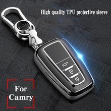 Hight quality TPU+ABS Car Key Cover Case for Toyota Camry Mark X RAV-4 PRADO COROLLA HIGHLANDER  2 3 Buttons Remote Keyless soft tpu car key case cover keychain for toyota avalon 8 camry 2019 levin ioza chr