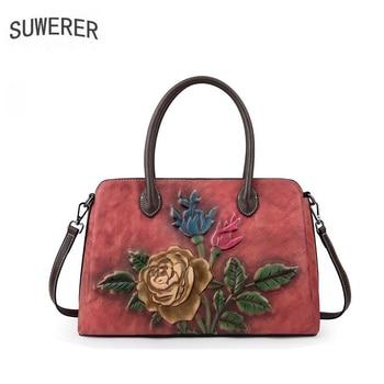 SUWERER Real cowhide bag women Genuine Leather bag luxury handbags women bags designer bags famous brand women bags 2020 tote