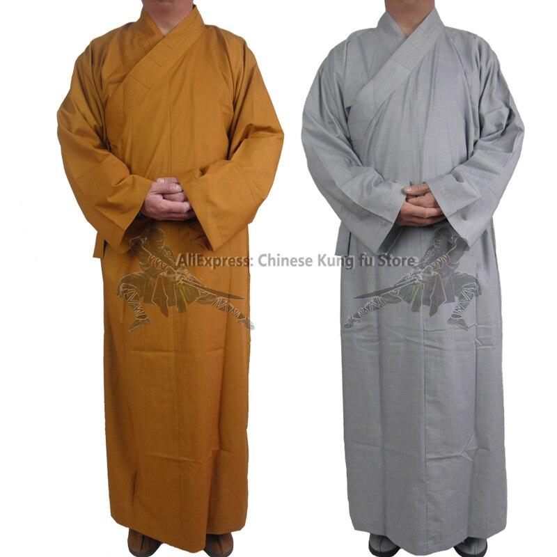 Хлопковый буддийский халат шаолин монах платье кунг-фу Униформа костюм для медитации костюмы унисекс