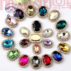 crystal flatback rhinestones for clothes shoes golden buttom shape glass sew on stones oval diy rhinestone with claw S170(China)