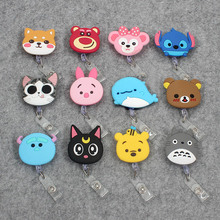 YIYOHI 60cm Cartoon Dog Cat Animals Silicone Retractable Reel Nurse Badge for Bus Bank Credit Card Holder ID Holders