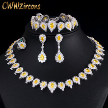 CWWZircons 4 pcs Luxury Shiny Yellow Cubic Zircon Stone Women Party Wedding Costume Jewelry Set for Brides Accessories T436 cwwzircons long water drop cubic zirconia stone big vintage royal wedding necklace and earring jewelry set for brides t205