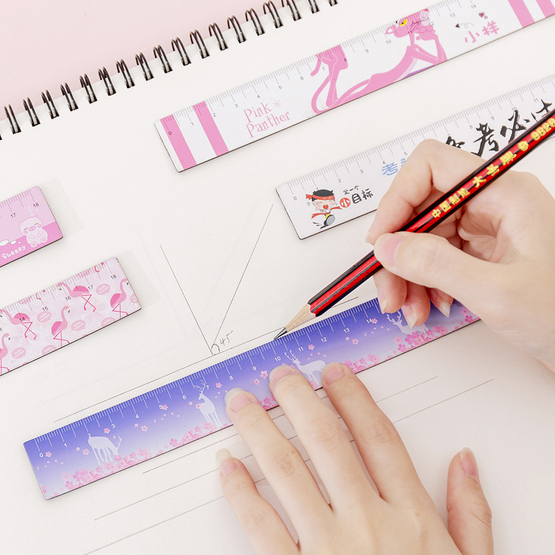 32pcs Cute Ruler 18cm Kawaii Flamingo Unicorn Ruler Scale Soft Ruler For Patchwork Drawing Stationery Kawaii Office Accessories