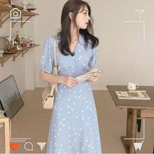 South Korea Chic Dresses Hot Sales Women Design Bow Tie V Neck Floral Print Temperament Vintage Long Dress