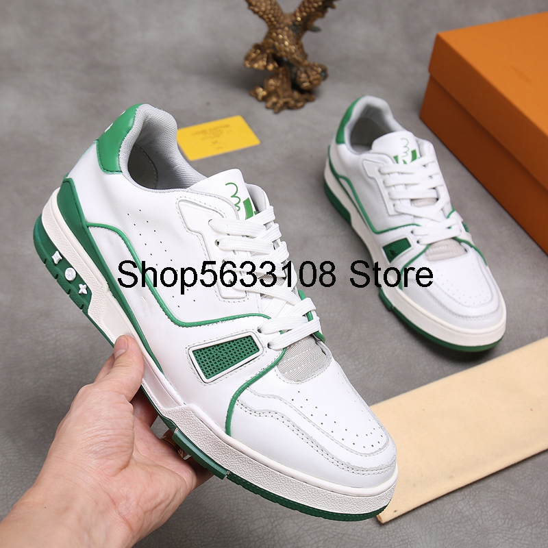 Top Quality New Famous Designer High Help Lace-up Genuine Leather Casual Shoes Fashion Brand Men Flats Shoes Original Box 38-46
