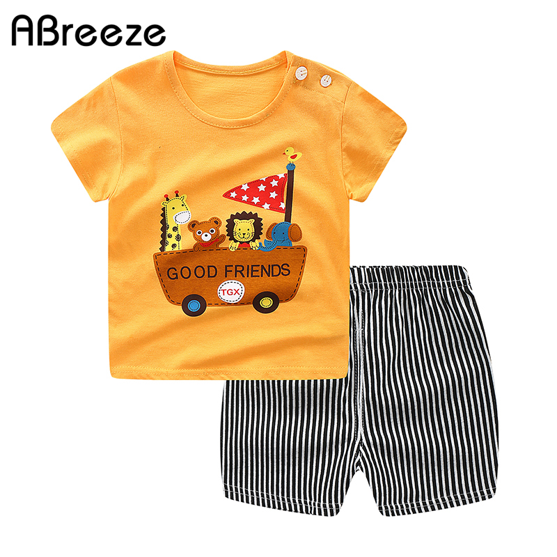 2020 Cotton Baby Sets Leisure Sports Boy T-shirt + Shorts Sets Toddler Clothing Baby Boy Clothes Baby Child Clothes 2PCS