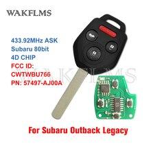 For Subaru Legacy Outback 2010 2011 2012 2013 2014 433MHz Subaru 80bit 4D CHIP Remote Car Key Fob 57497 AJ00A CWTWBU766
