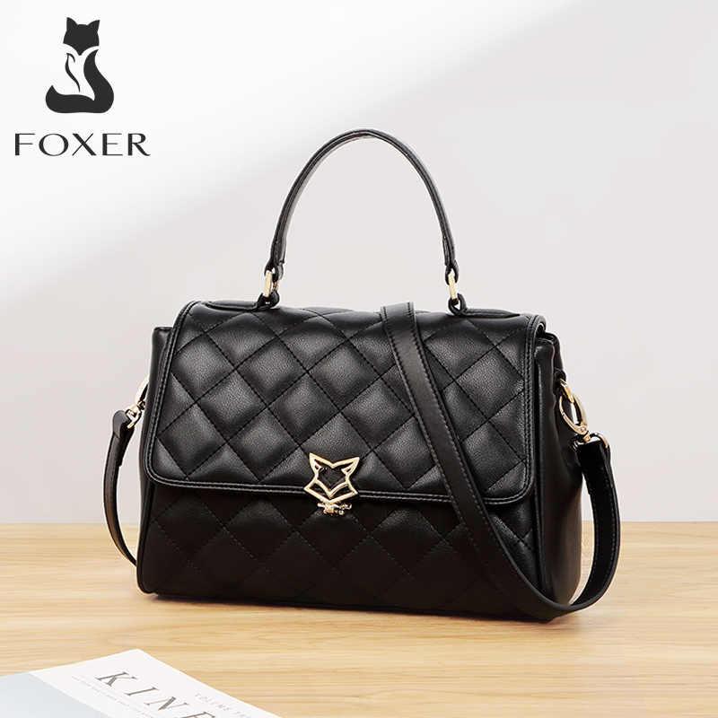 FOXER 여성 가죽 어깨 가방 쇠가죽 채찍으로 치다 크로스 바디 가방 조절 가능한 스트랩과 레이디 핸드백 여성을위한 패션 플랩 가방