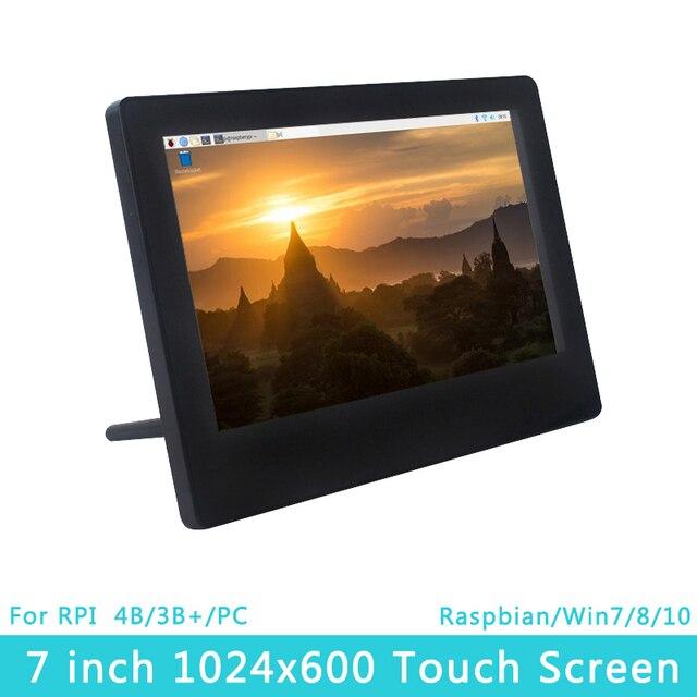 라즈베리 파이 4 모델 B 7 인치 LCD 1024x600 IPS 용량 성 터치 스크린 조정 가능한 밝기 디스플레이 라스베리 파이 4B/3B +/3B