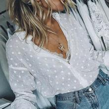 New Fashion 2020 Autumn Women Sexy White Shirt Elegant Long