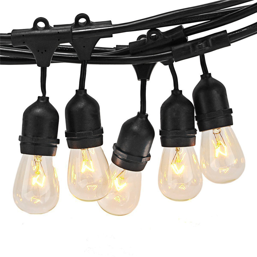 Thrisdar Commercial Grade 15M 15Bulbs Christmas String Light With S14 Edison Filament Bulb Garden Holiday Wedding Garland Light