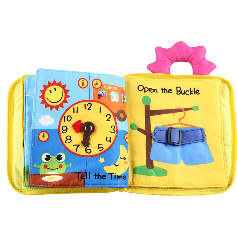 Baby Toy Soft 3D Cloth Book First Book Early education Educational Toys color Learning Basic Life Skills Toys Montessori Zipper