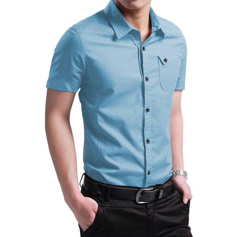 2021 New Summer 100% Cotton Shirts for Men New Breathable Military Men Shirts Short Sleeve Slim Men's Shirts Men Brand Clothing 5