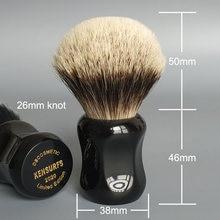 Dscosmetic-brocha de afeitar para pelo de tejón de dos bandas, 26mm, con mango de resina negra, cabello de buena espina dorsal