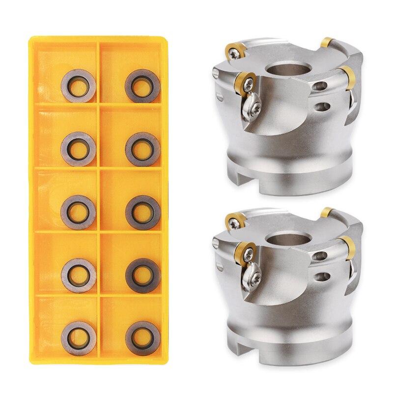 10PCS Carbide Insert RPMW1003 MO VP15TF + 1PC EMR 5R 50 22 4T / EMR 5R 63 22 4T Face Mill Holder Milling Turning Tool CNC Set