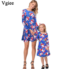Vgiee Mother Daughter Dresses Christmas Dress Cotton Print Full Pattern for Cartoon Mommy and Me Clothes CC682