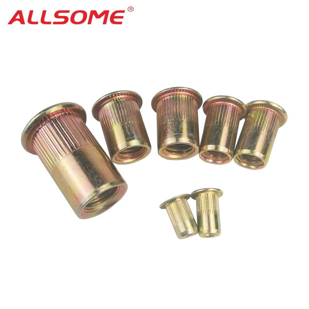 ALLSOME M3 M4 M6 M8 M10 Flat Head Carbon Steel Rivet Nuts Rivet Nuts Set Nuts Insert Riveting