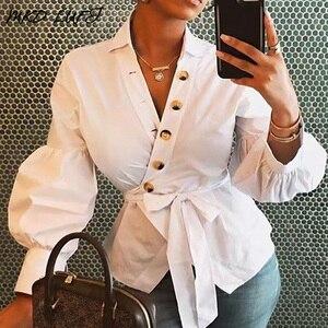 Camisas con puños de linterna de Surplice abotonado blusas de Otoño de manga larga de color blanco sólido para mujer Camisas casuales de Wasit atadas