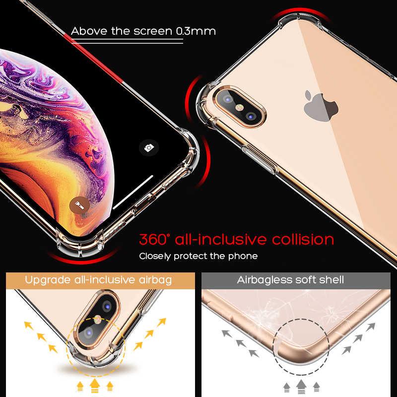 الفاخرة للصدمات سيليكون الهاتف حقيبة لهاتف أي فون X XS XR XS ماكس 8 7 زائد 6 6S زائد 5 5S حالة شفافة حماية الغطاء الخلفي
