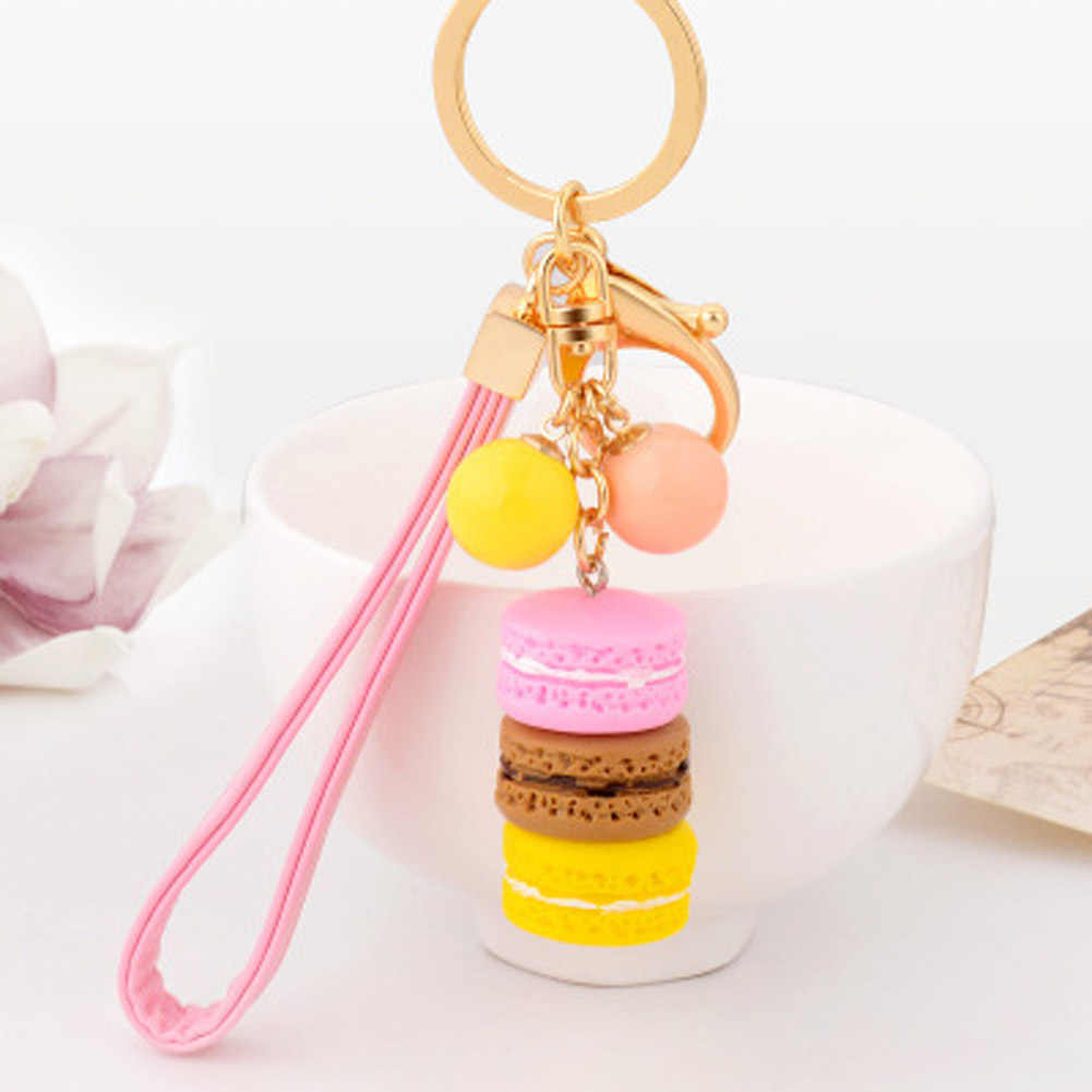 ใหม่ Creative Macarons เค้ก Keyring Hot Key Chain เชือกจี้แฟชั่น Keychains Keyrings ผู้หญิงกระเป๋า Charm Trinket