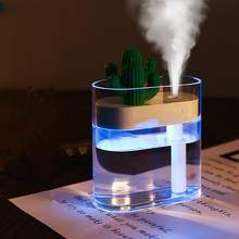 160ML Ultraschall-luftbefeuchter Klar Kaktus Farbe Licht USB Diffusor Auto Purifier Aroma Diffusor Anion Nebel Maker