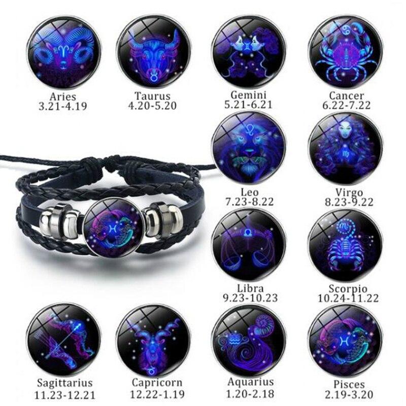 12 Constellation Bracelets Black Punk Leather Bracelet Zodiac Bracelet For Men Women Gemini Cancer Leo Virgo Libra Bracelet Gift