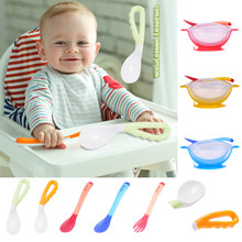 Baby Pacifier Feeding Spoon 1PCS Solid Supplies Curved Spoon For Newborn baby Temperature Sensing Spoon droppping Baby Feeding(China)