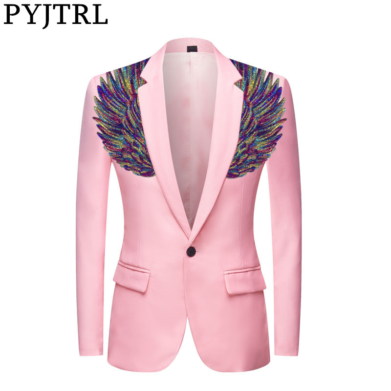 PYJTRL Mens Gold Colorful Sequins Wings Pink Suit Jacket Stage Wear Slim FIt Blazer Styles Stage Costumes For Singers